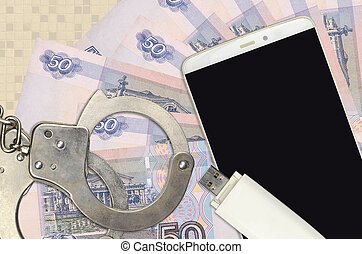 rubles, police, handcuffs., phishing, distribution, malware, doux, scam, ou, factures, attaques, hackers, russe, concept, illégal, 50, smartphone
