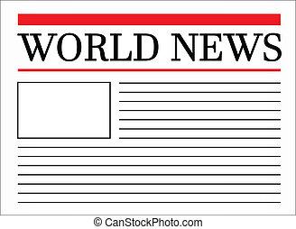 rubrik, värld, tidning, nyheterna