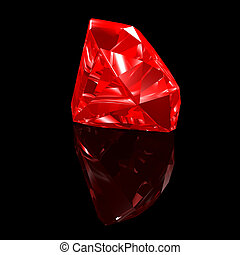 3d illustration looks red ruby gemstone on the black background.