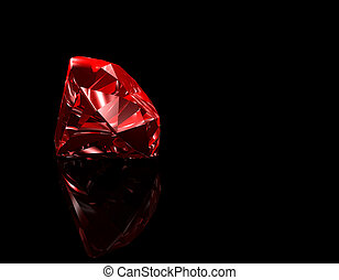 Ruby - 3d illustration looks red ruby on black background