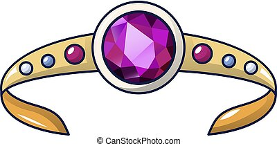 Ruby crown icon, cartoon style