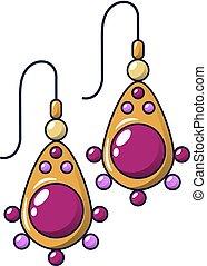 Ruby earrings icon, cartoon style