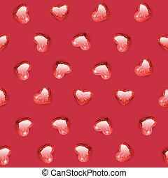 Ruby Gem Hearts Seamless Pattern