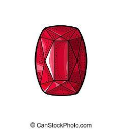 Ruby gem stone. Vintage color vector engraving illustration