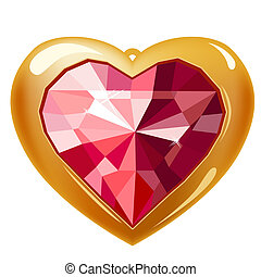 Ruby gold heart isolated on white background