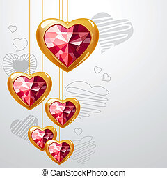 Ruby gold hearts hanging on light grey background