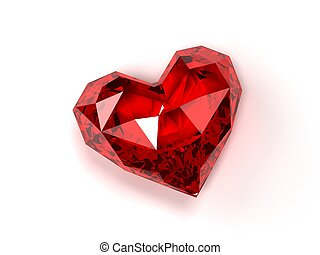 ruby heart - 3d rendered illustration of an isolated ...
