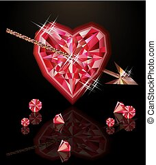 Ruby heart and arrow, happy valentines day, vector illustration