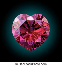 Ruby heart for Valentine s Day. red crystal. Vector