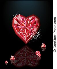 Ruby heart, happy valentines day, vector illustration