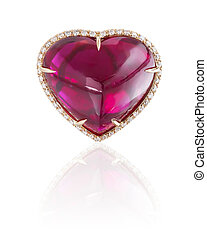 Ruby heart ring isolated on white.