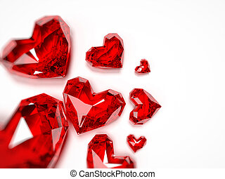 Ruby hearts - 3d rendered illustration of a heart shaped...