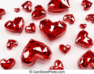 ruby hearts - 3d rendered illustration of some expensive...