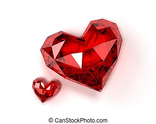 ruby hearts - 3d rendered illustration of two isolated...