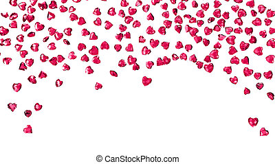 ruby hearts on white