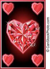 Ruby hearts poker card, vector