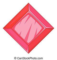 Ruby icon, cartoon style - Ruby icon. Cartoon illustration...