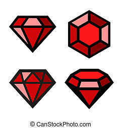 Ruby  icons set. Easy clear shape. .