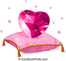 Ruby Love heart on the pink pillow