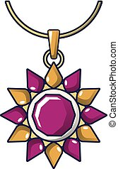 Ruby necklace icon, cartoon style