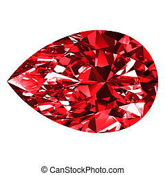 Ruby Pear Over White Background
