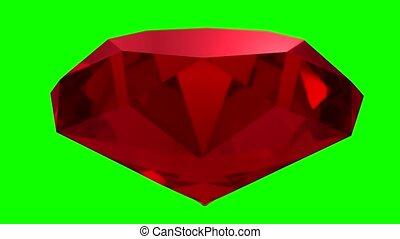 Ruby red gemstone gem stone spinning wedding background loop...