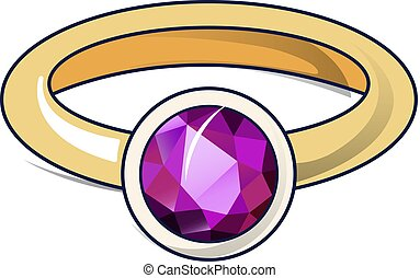 Ruby ring icon, cartoon style