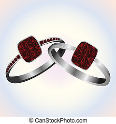 Ruby rings - Ruby platinum and white gold rings