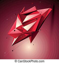 Ruby spatial technological shape, polygonal wireframe object...