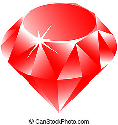 ruby vector against white background, abstract vector art...