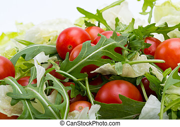 ruccola, ciliegia, foglie, lattuga, mucchio, pomodori