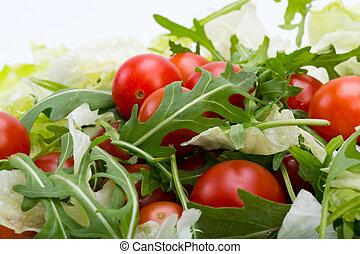 ruccola, kers, bladeren, sla, hoop, tomaten