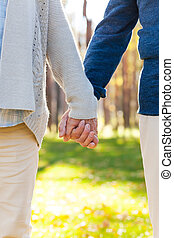 ruce, detail, dvojice, bezkoncovkový, majetek, love., dohromady, stálý, venku, starší, čas