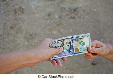 ruce, dolar., mělký, upravit ohnisko čočky., samičí, daný
