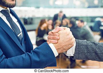 ruce, národ, dohotovení, otřes, up, setkání, povolání