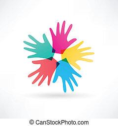 ruce, roztržitost, lidský, ikona