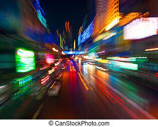 ruch, światła, handel, plama