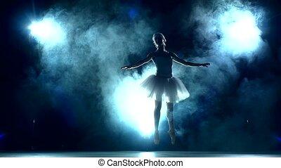 ruch, balerina, powolny, trening, klasa