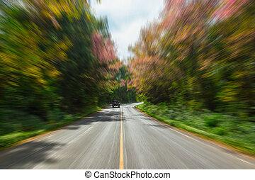 ruch, blur., droga, kraj, asfalt