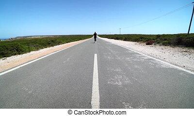 ruch, człowiek, przez, pustynia, wyścigi, powolny