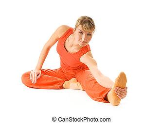 ruch, młody, białe tło, odizolowany, kobieta, piękny, yoga