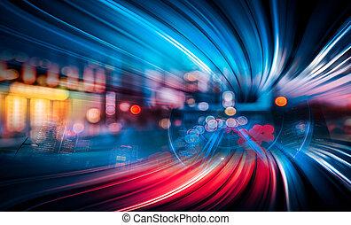 ruch, miasto, abstrakcyjny, szybkość, tło