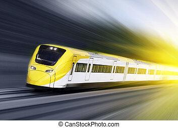 ruch, mocny, pociąg