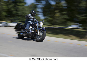 ruch, motocykl, plama