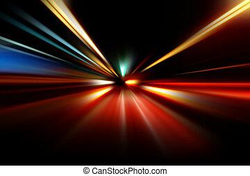 ruch, noc, abstrakcyjny, szybkość, przyśpieszenie