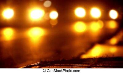 ruch, noc przesuwają miejsce, blurry tło, handel, video, bokeh.