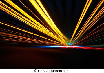 ruch, noc, szybkość, przyśpieszenie