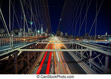 ruch, nowy, handel, york