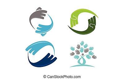 ruch obrotowy, komplet, szablon, ręka