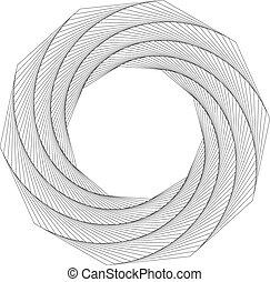 ruch obrotowy, nonagon, abstrakcyjny, geometryczny